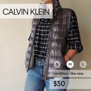 Calvin Klein Silver Puffer Vest Premium Down